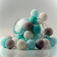 Гирлянда 20 шаров  бело-серый-голубая