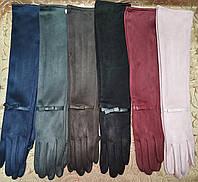 (50 cm) Длинные Замш женские перчатки только оптом, фото 1