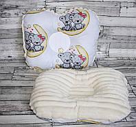 """Ортопедическая подушка для новорожденных """"мишки на луне с плюшем минки"""""""