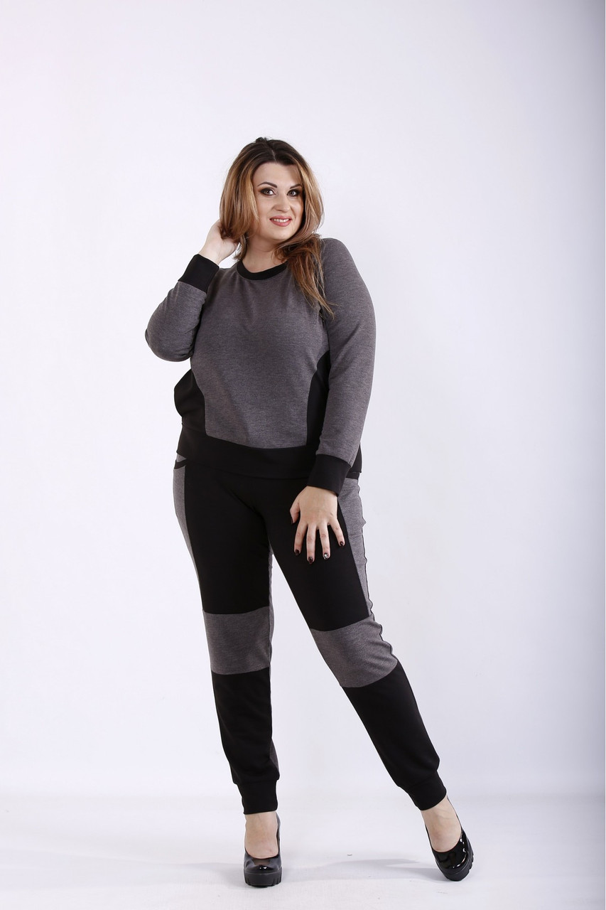 01251-3 | Темно-сірий спортивний костюм з двухнитки великого розміру