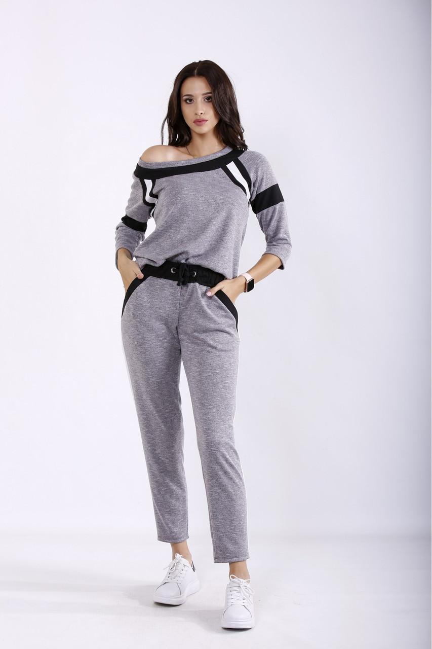 01252-1   Серый спортивный костюм большого размера