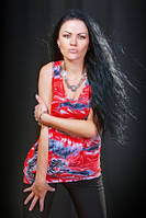 Туника майка красная свободного покроя, туника летняя молодежная, фото 1