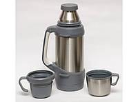 Термос с чашками, 1 литр, высокое качество. Термос + 2 чашки. Термос для жидкости.