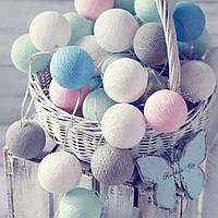 Гирлянда 20 шаров белый-розовый-голубой-морской