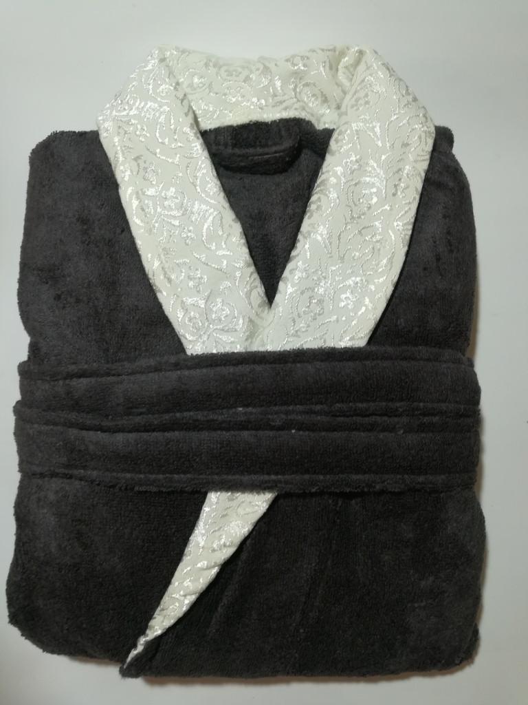 Турецкий мужской халат махра, XXL р.56- 58 Турция, темно серый