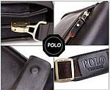 Качественная мужская сумка через плечо Polo Videng, поло. Темно-коричневая. 24x21x7, фото 6