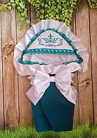 Велюровый конверт на выписку с итальянским кружевом, вышивкой и рюшами для новорожденных, фото 1