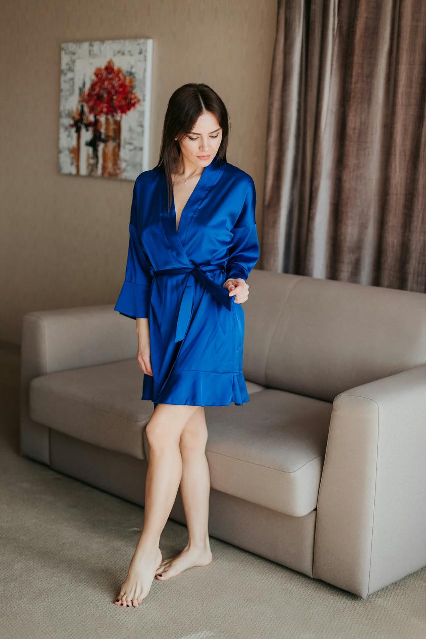 Короткий синій жіночий халатик