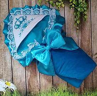 Конверт на выписку с вышивкой и кружевом для новорожденных все сезоны