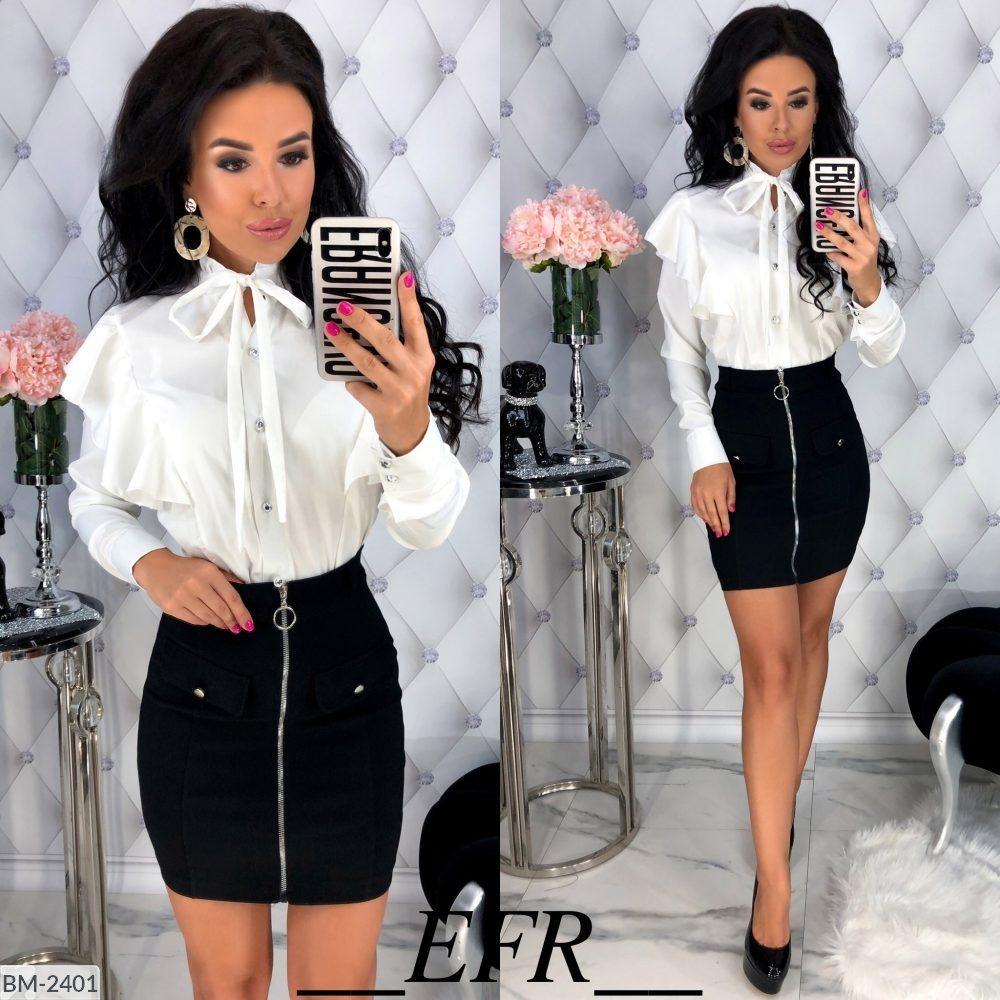 Женская стильная весенне-осенняя мини юбка с змейкой впереди (стрейч-джинс) 3 цвета