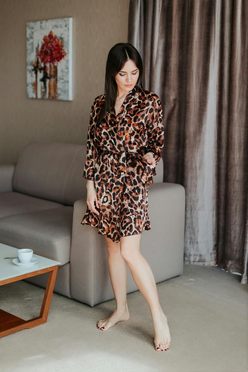 Леопардовый короткий халатик с узором