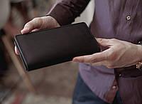 Мужской кожаный кошелек-кейс, большое вместительное мужское портмоне из кожи_черный