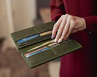 Портмоне-клатч Vilena из натуральной кожи_зеленое, большой вместительный кошелек без застежки.