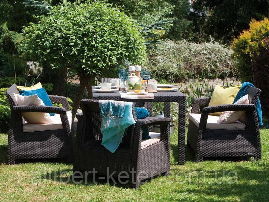 Keter Corfu Fiesta Set садовая мебель из искусственного ротанга