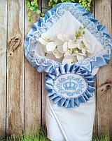 Двухсторонний велюровый конверт с вышивкой  для новорожденных весна-осень,   78*78 см, фото 1