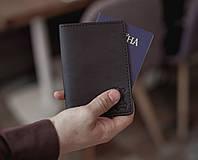 Кожаная обложка для паспорта, обложка кожаная на загранпаспорт_черная