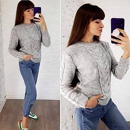 """Шерстяной свитер """"Коса"""", 42-48"""