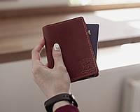 Кожаная обложка для паспорта, обложка кожаная на загранпаспорт_коричневый