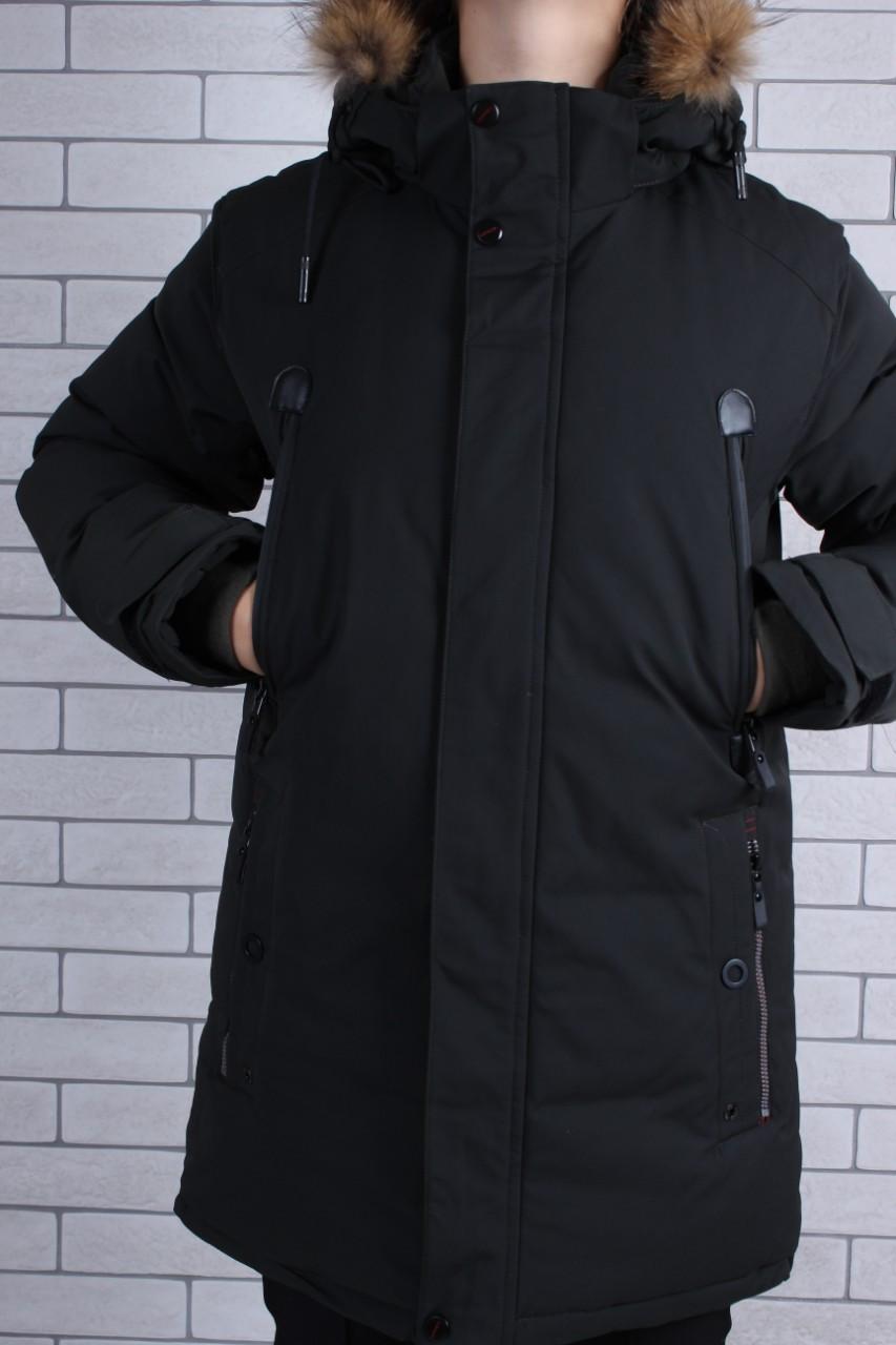Подростковая зимняя куртка для мальчика р.146-170 черная