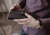 Мужское большое портмоне из натуральной кожи_черный, большой мужской кожаный кошелек