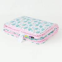 Детский плед BabySoon плюшевый в коляску Мятные ежики 78 х 85 см Розовый (01353/02)