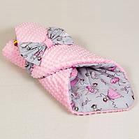 Детский зимний конверт-одеяло на выписку Балеринка 80 х 85 см Розовый (0059К)