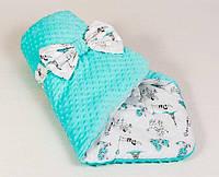 Детский зимний конверт-одеяло на выписку Париж 80 х 85 см Мятный (0063К)