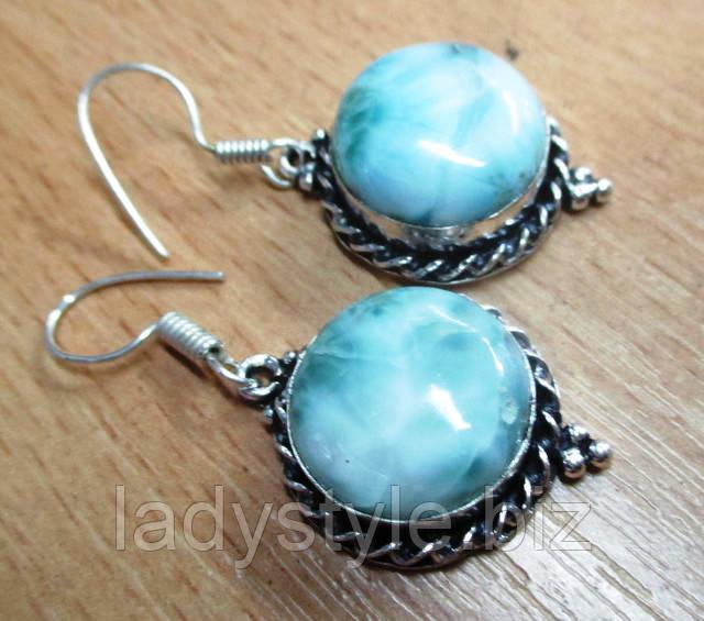 купить ларимар натуральный серьги серебро украшения подарок редкие камни
