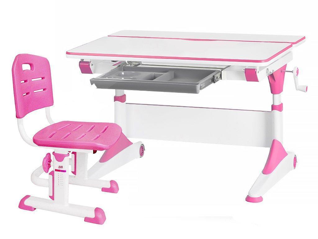 Комплект Evo-Kids стол Alberto  WP+стул Evo-301 PN - столешница белая / ножки белые с розовым