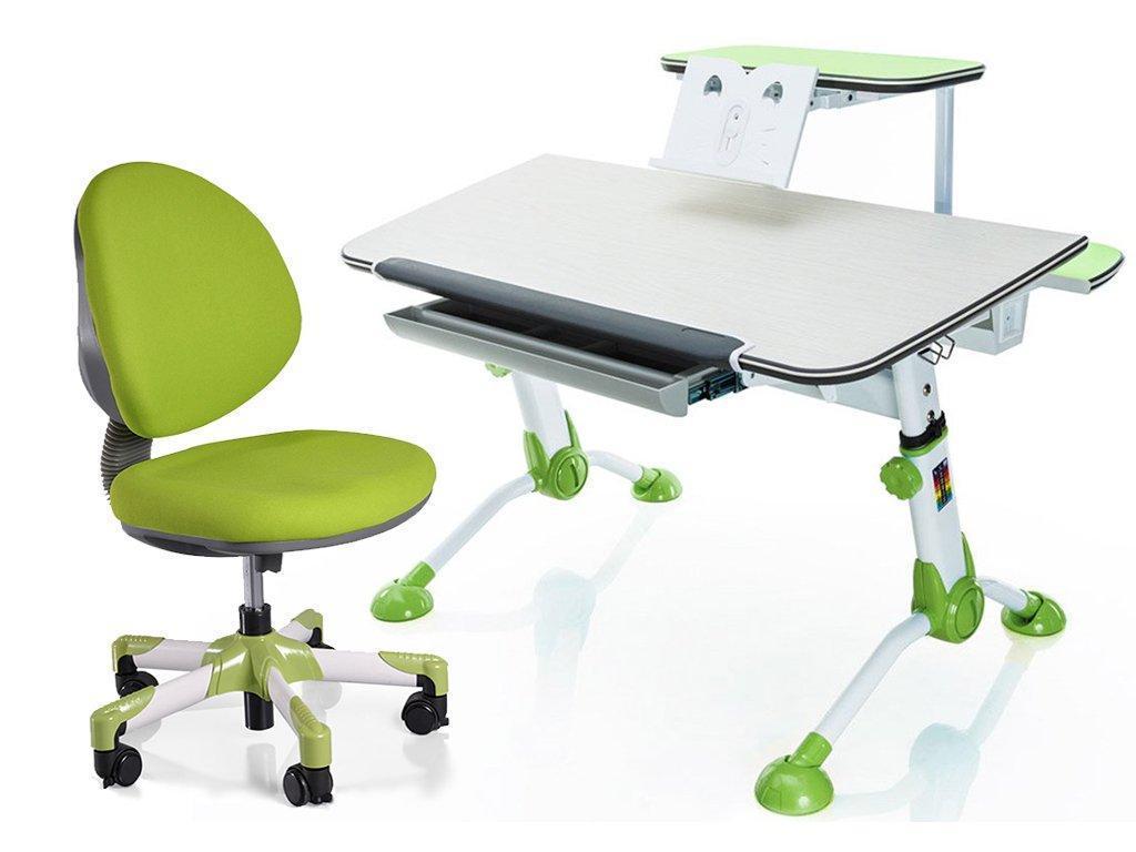 Комплект Mealux стол Orion + кресло Vena столешница береза / цвет накладок зеленый