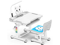 Комплект Evo-kids (стул+стол+полка+лампа) (XL) Teddy Grey c лампой - столешница белая / цвет пластика серый