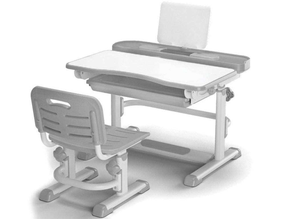 Комплект Evo-kids (стул+стол+полка) BD-04 G New Grey - столешница белая / цвет пластика серый
