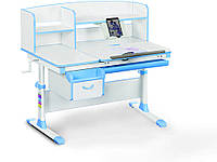 Детский стол Evo-kids (стол+ящик+надстройка) Evo-50 BL (Blue) - столешница белая / цвет пластика голубой