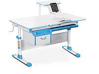 Детский стол Evo-kids (стол+ящик+надстройка) Evo-40 BL (Blue) - столешница белая / цвет пластика голубой