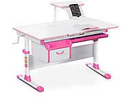 Детский стол Evo-kids (стол+ящик+надстройка) Evo-40 PN (Pink) - столешница белая / цвет пластика  розовый