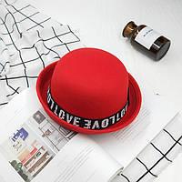 Шляпа женская котелок Love WildJazz фетровая красная, фото 1