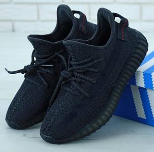Мужские кроссовки Adidas Yeezy Boost 350 Black Полный Рефлектив
