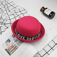 Капелюх жіночий казанок Love WildJazz фетровий рожева, фото 1