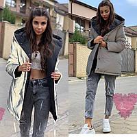 Женская двухсторонняя теплая куртка из светоотражающей плащевки 7101128