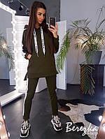 Женский спортивный костюм с удлиненным худи с капюшоном и зауженными штанами 6605739Е
