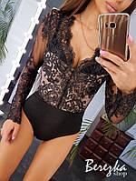 Кружевное женское боди с длинным рукавом в расцветках 6618318Е