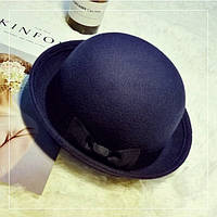 Капелюх жіночий з бантиком казанок WildJazz фетровий темно синя, фото 1