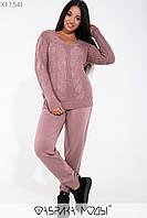 Вязаный женский брючный костюм большого размера с узором на кофте 115234, фото 1