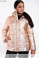 Короткая женская куртка большого размера на молнии с капюшоном 115238, фото 1