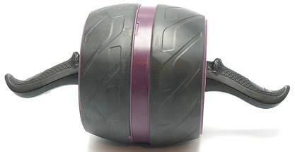 Колесо для мышц пресса (MS 2209-1) Бордовое, широкое с возвратным механизмом., фото 2