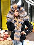 Бежевая куртка парка с натуральным мехом белой арктической лисы на капюшоне, фото 8