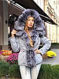 Бежевая куртка парка с натуральным мехом белой арктической лисы на капюшоне, фото 10