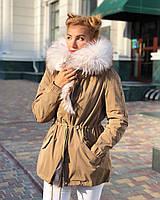 Бежевая куртка парка с натуральным мехом белой арктической лисы на капюшоне, фото 1