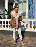 Бежевая куртка парка с натуральным мехом белой арктической лисы на капюшоне, фото 5
