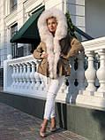 Бежевая куртка парка с натуральным мехом белой арктической лисы на капюшоне, фото 6